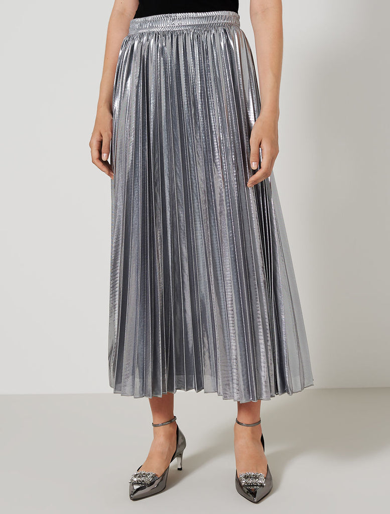 Marella Sport - Long Silver Pleated Skirt - SKULPT Dublin