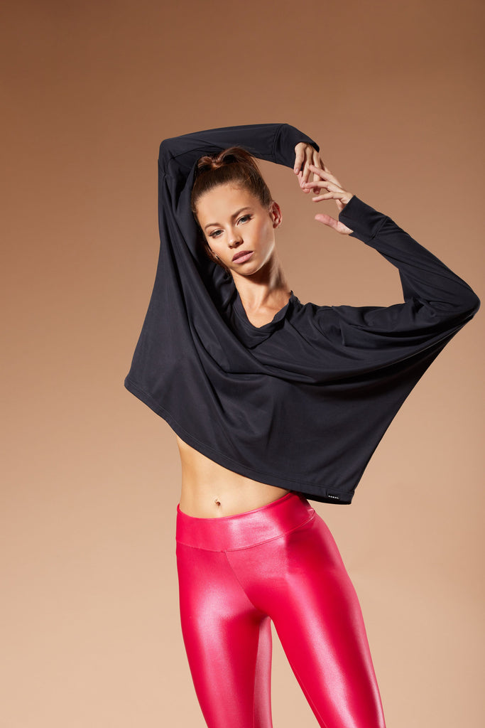 Koral Long Sleeved Cupro Top - Black - SKULPT Dublin