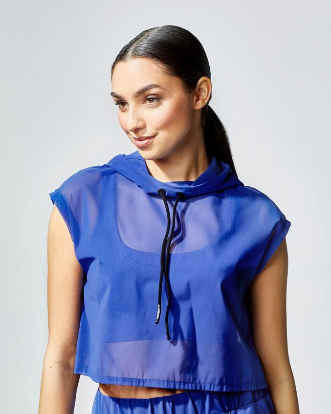 Michi Drive Short Sleeved Top with Hood - Blue - SKULPT Dublin