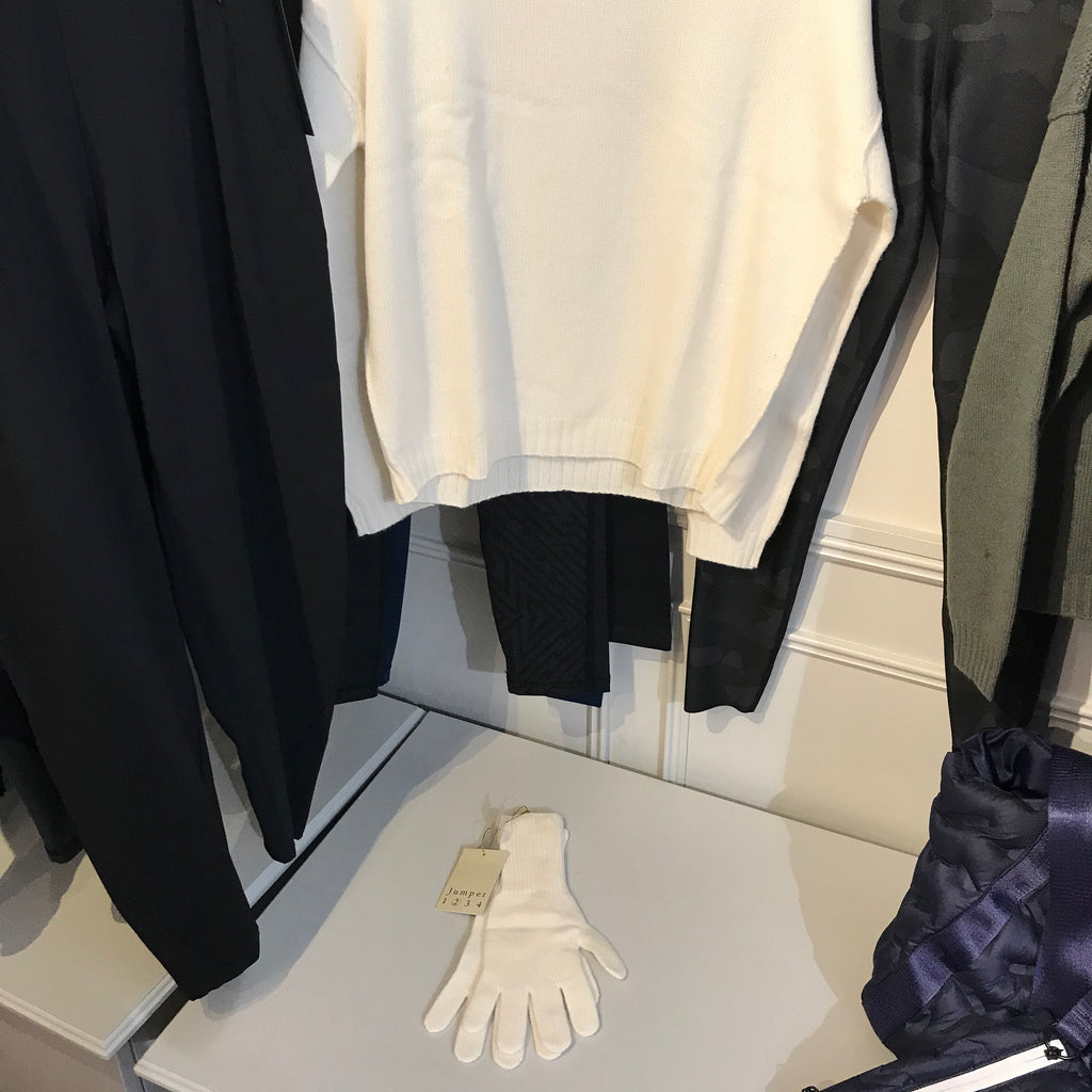 Cashmere Gloves - Ribbed Wrist - Cream - SKULPT Dublin