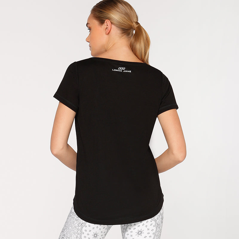 Lorna Jane Short Sleeved V neck Tee - Black - SKULPT Dublin
