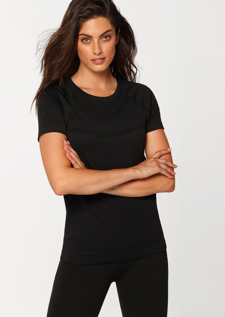 Lorna Jane Seamless Short Sleeved Top - Black - SKULPT Dublin
