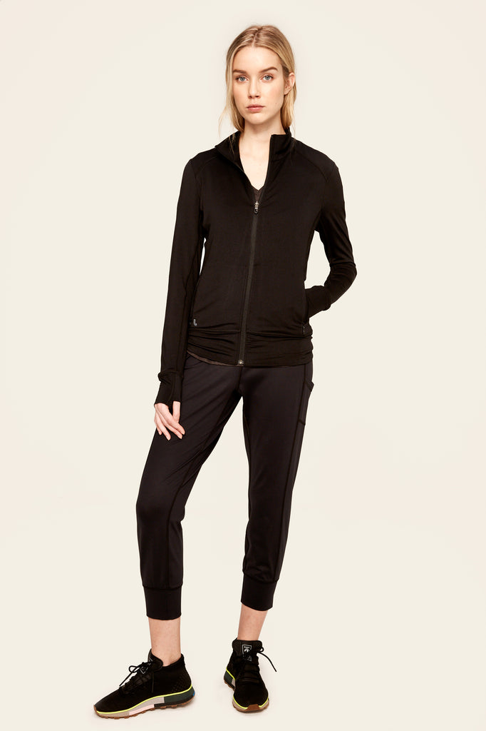 Lole Essential Jacket Zip Up - Small Mesh Back in Black - SKULPT Dublin