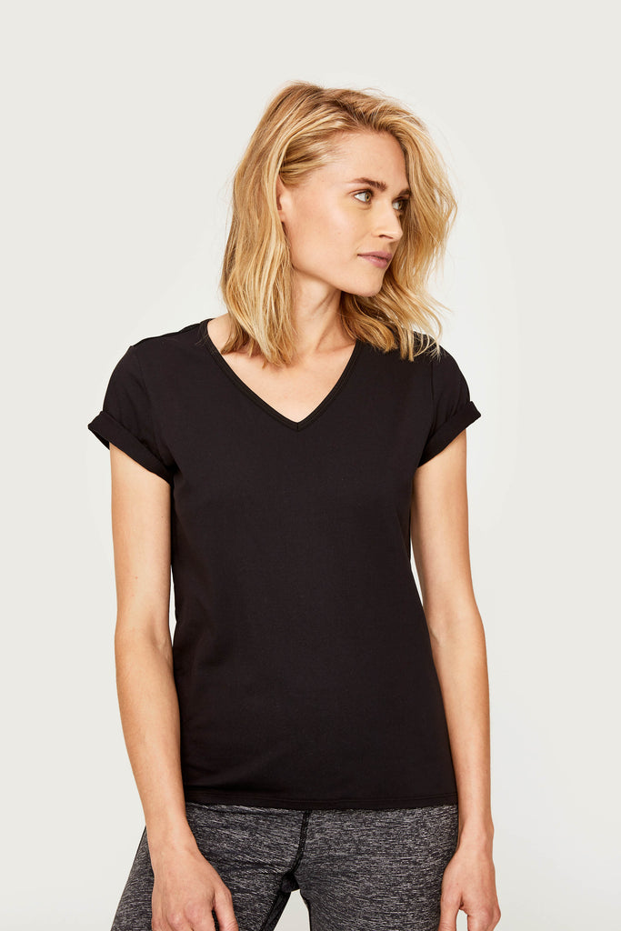 Lole V Neck Short Sleeved Tee - Black with Mesh Back - SKULPT Dublin