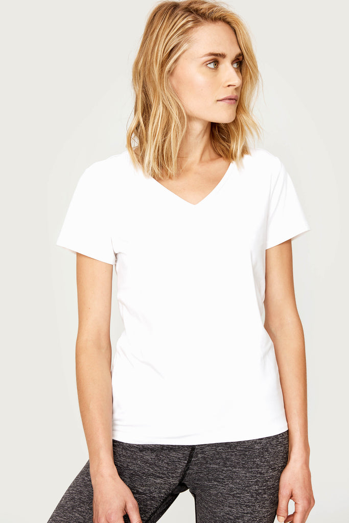 Lole V Neck Short Sleeved Tee - White Mesh Back - SKULPT Dublin
