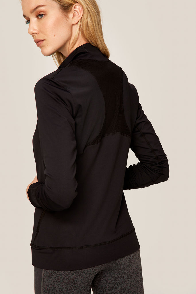 Lole Essential Jacket Zip Up - Mesh Back in Black - SKULPT Dublin