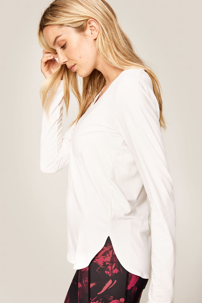 Lole Long Sleeved V Neck Top - White - SKULPT Dublin
