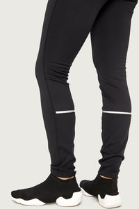 Lole Heavy Fleece Lined Leggings - Black with Reflective Strips