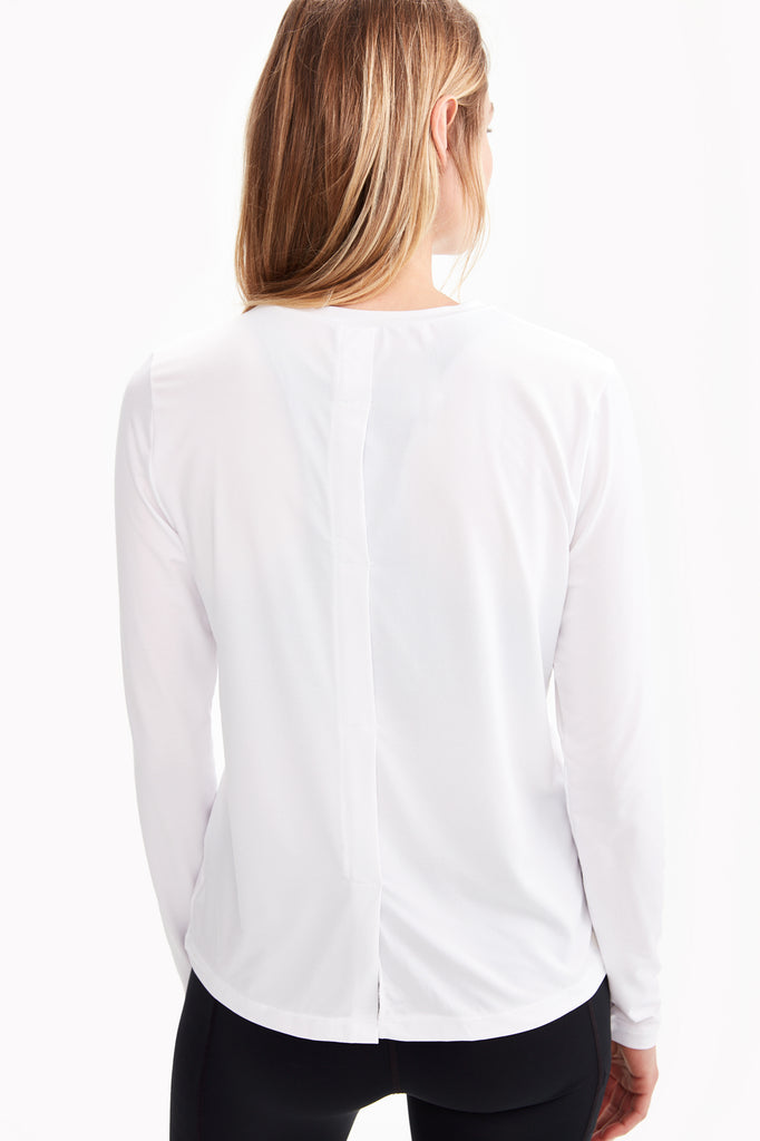 Lole Long Sleeved Round Neck Top - Tabbed Back White - SKULPT Dublin