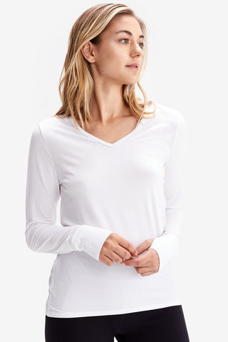 Lole Long Sleeved V Neck Top - White no mesh