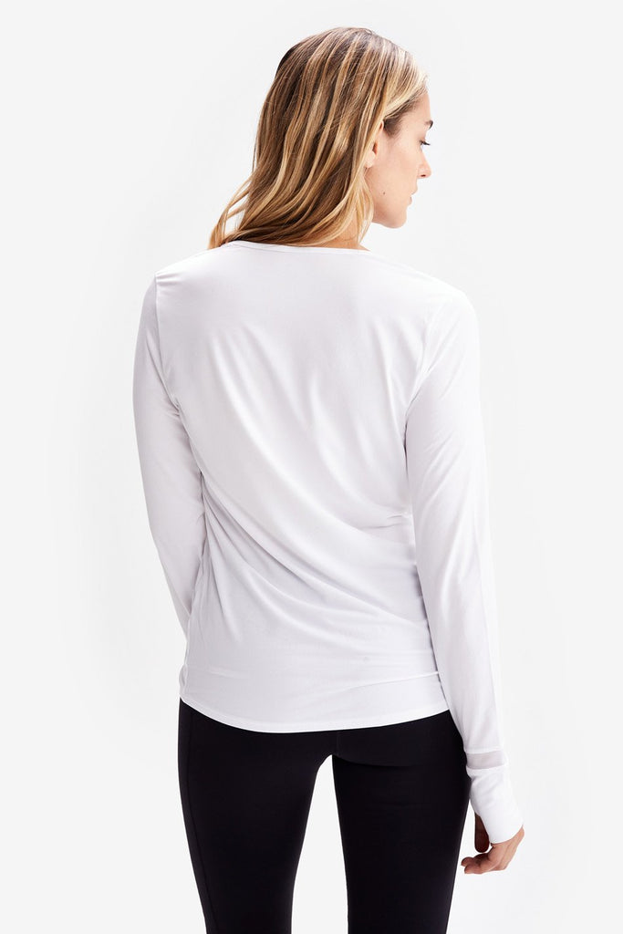 Lole Long Sleeved V Neck Top - White no mesh - SKULPT Dublin