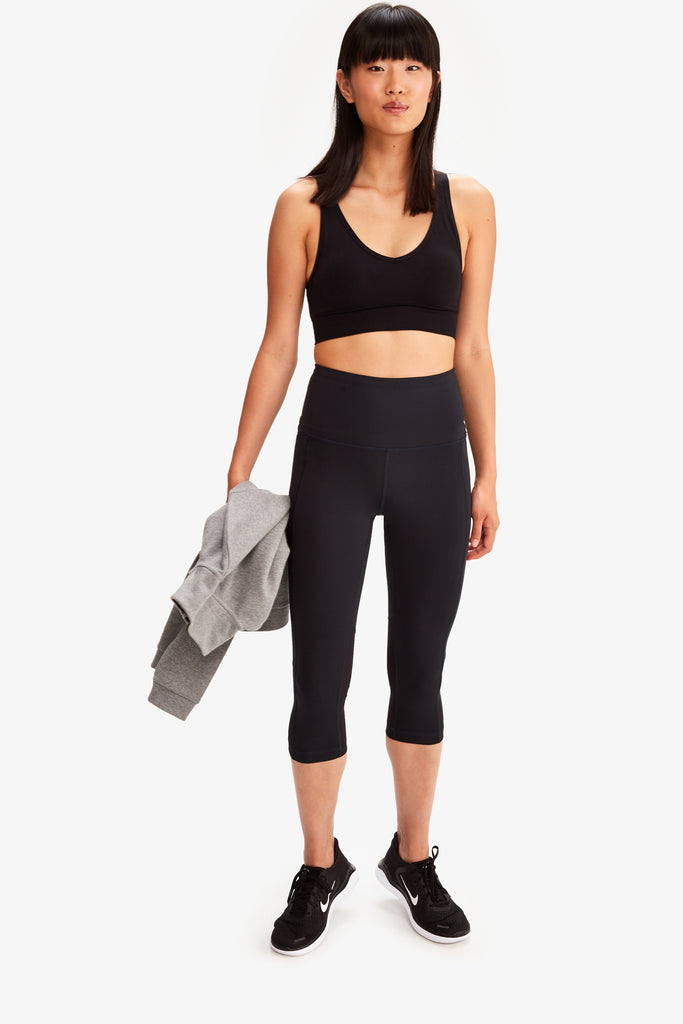 Lole High Waist Capri Leggings with side pocket - Black - SKULPT Dublin