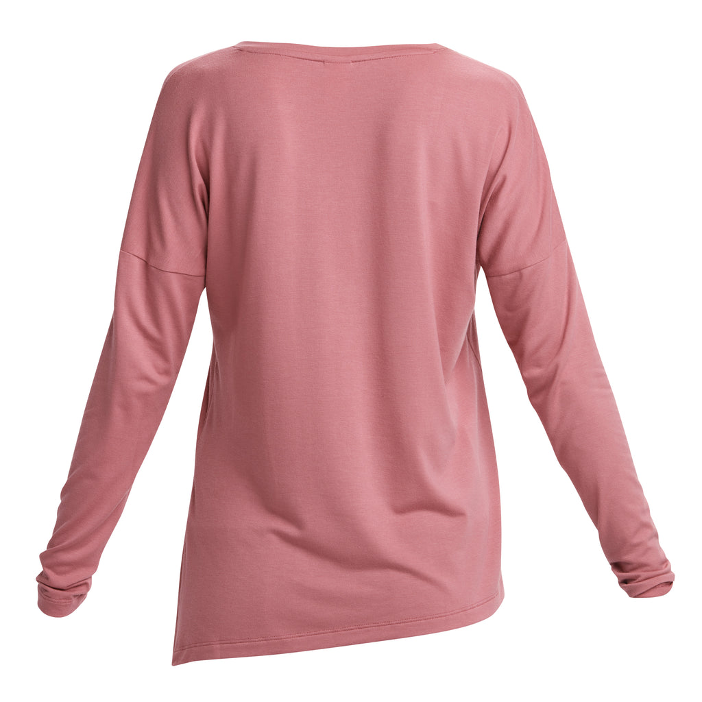 Lole Long Sleeved V Neck Top with side tie - Dusty Pink - SKULPT Dublin