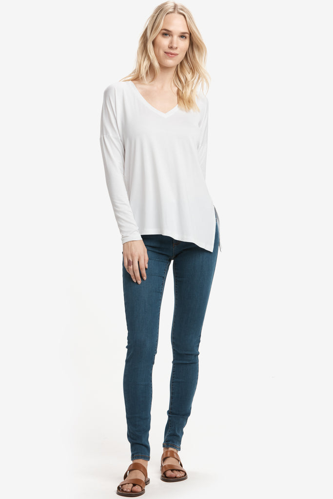 Lole Long Sleeved V Neck Top with side tie - Baby Blue - SKULPT Dublin