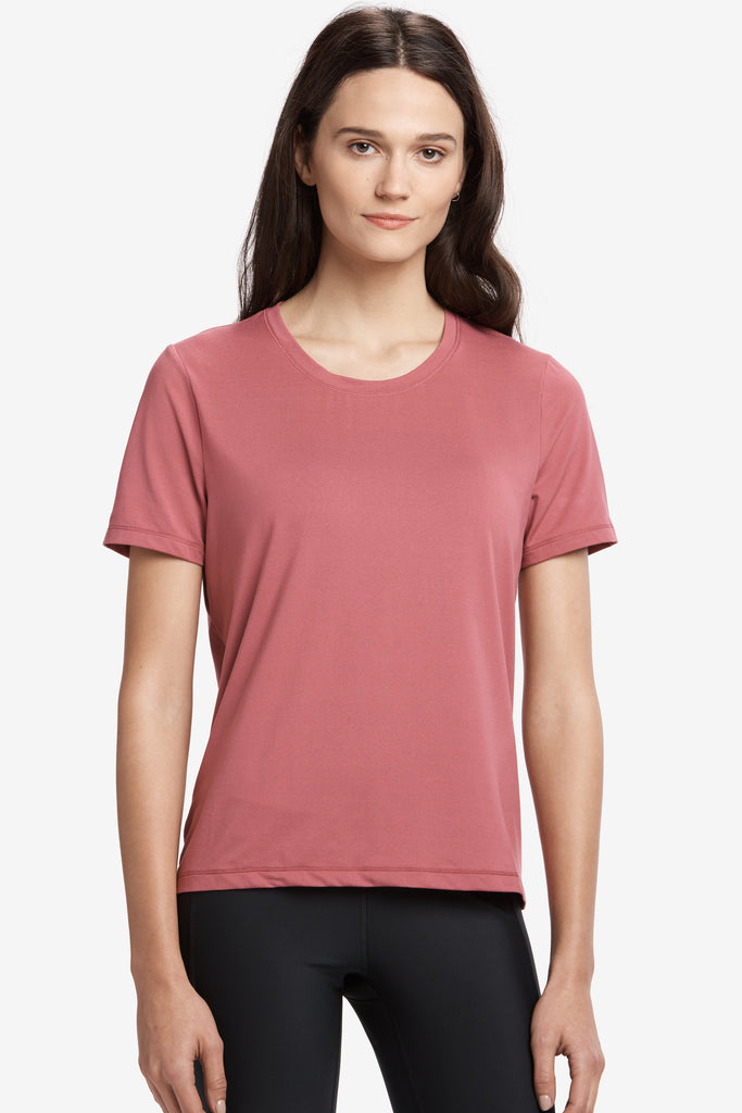 Lole Short Sleeved Round Neck Tee - Dusty Pink - SKULPT Dublin