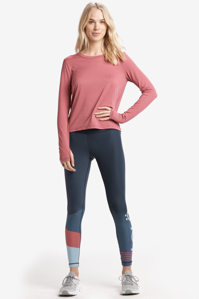 Lole Long Sleeved Round Neck Top with small Slit back - Dusty Pink - SKULPT Dublin