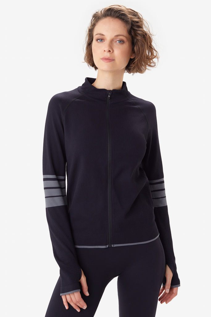 Lole Seamless Jacket Zip Up - Black with Grey stripe - SKULPT Dublin