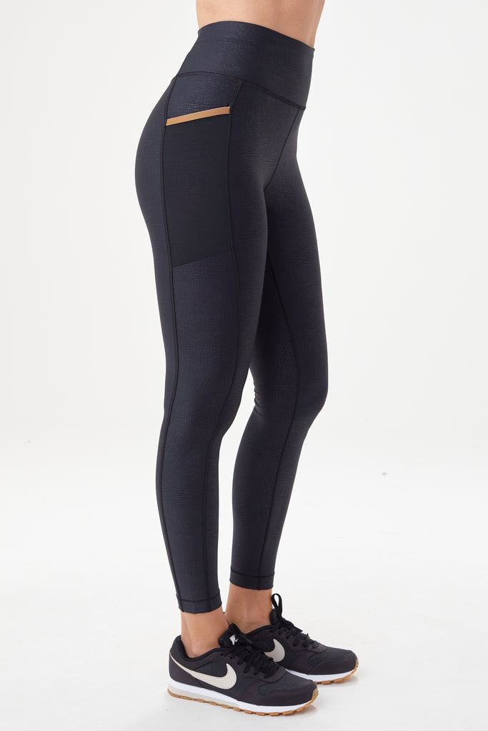 Lole High Rise Leggings with side pocket - Black subtle pattern - SKULPT Dublin