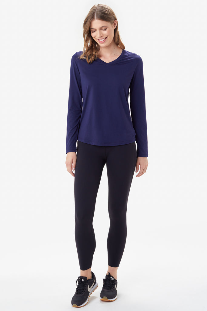 Lole Long Sleeved V Neck Top - Navy - SKULPT Dublin