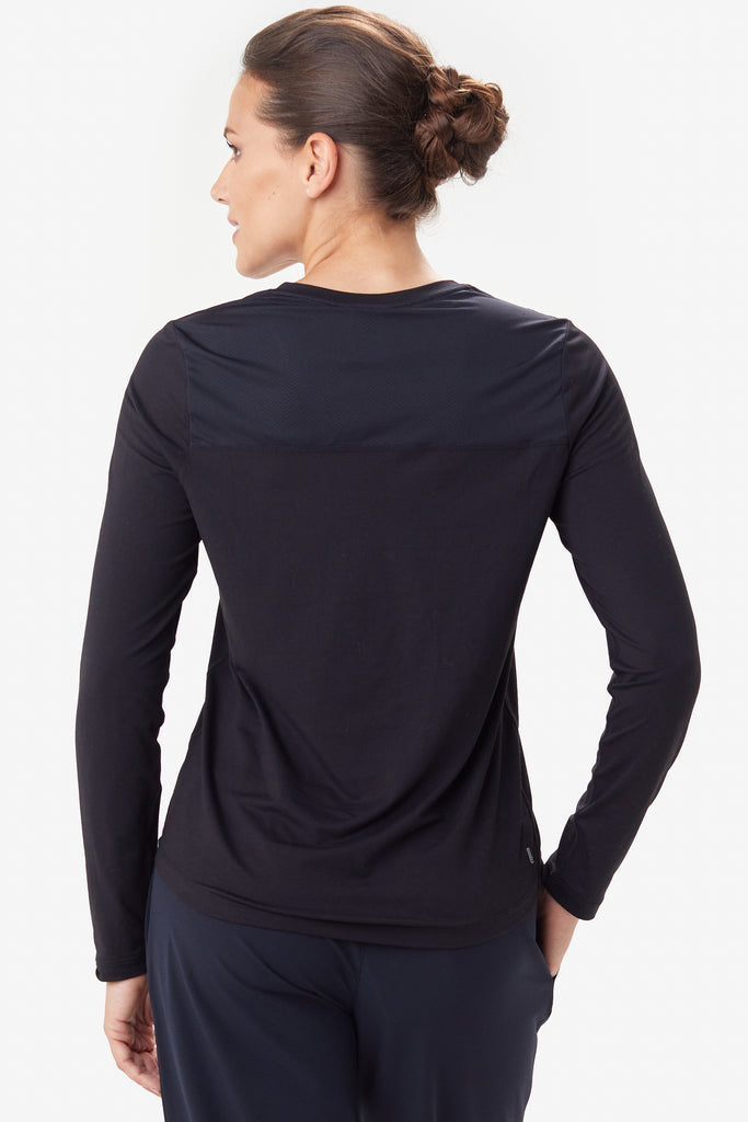 Lole Long Sleeved V Neck Top - Black - SKULPT Dublin