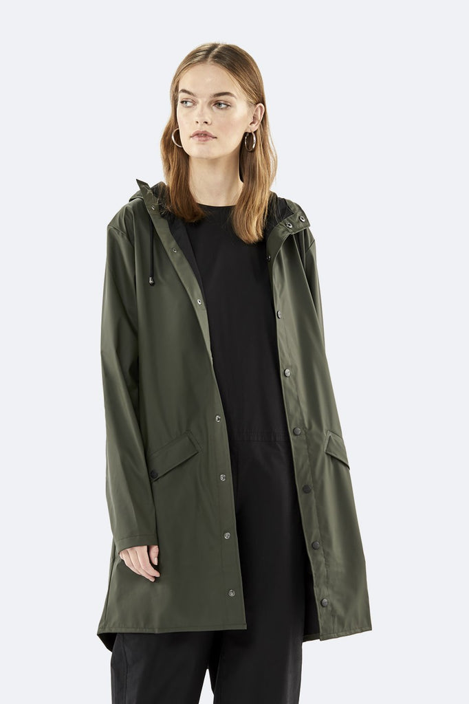 Rains Long Waterproof Jacket - Army Green - SKULPT Dublin