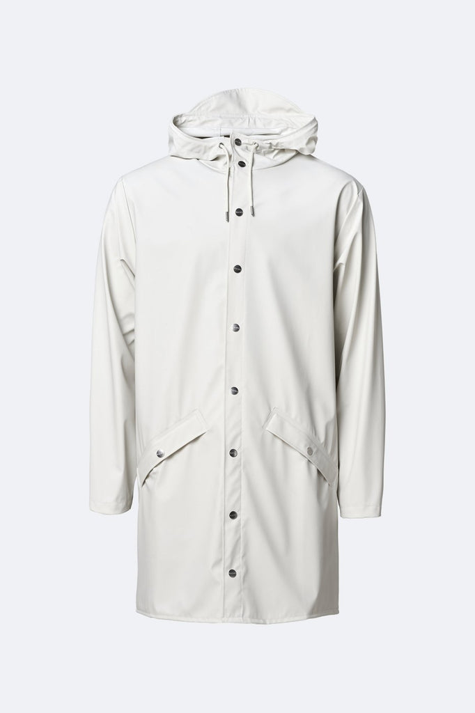 Rains Long Waterproof Jacket - Off White - SKULPT Dublin