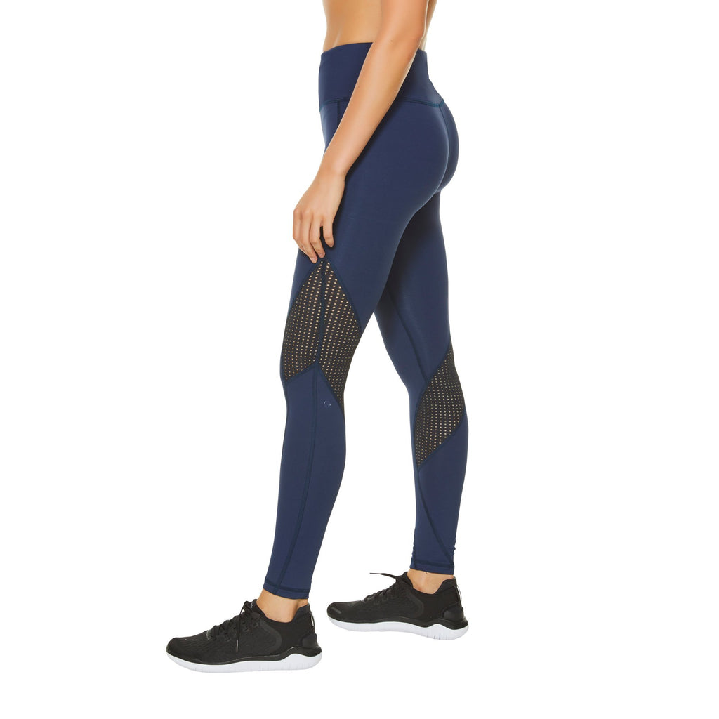 Shape Zip Pocket Leggings - Navy with Black - SKULPT Dublin