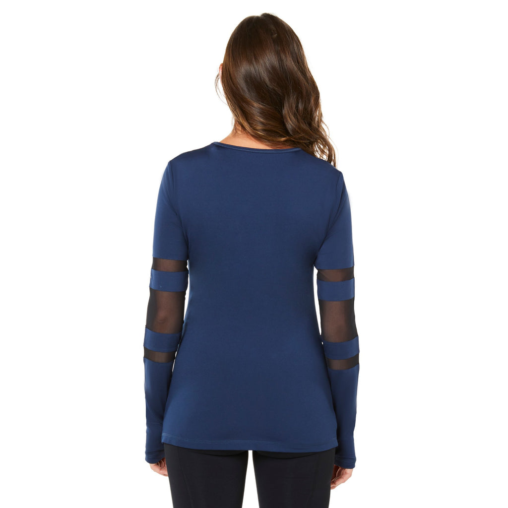 Shape Long Sleeved Top - Navy with mesh front - SKULPT Dublin