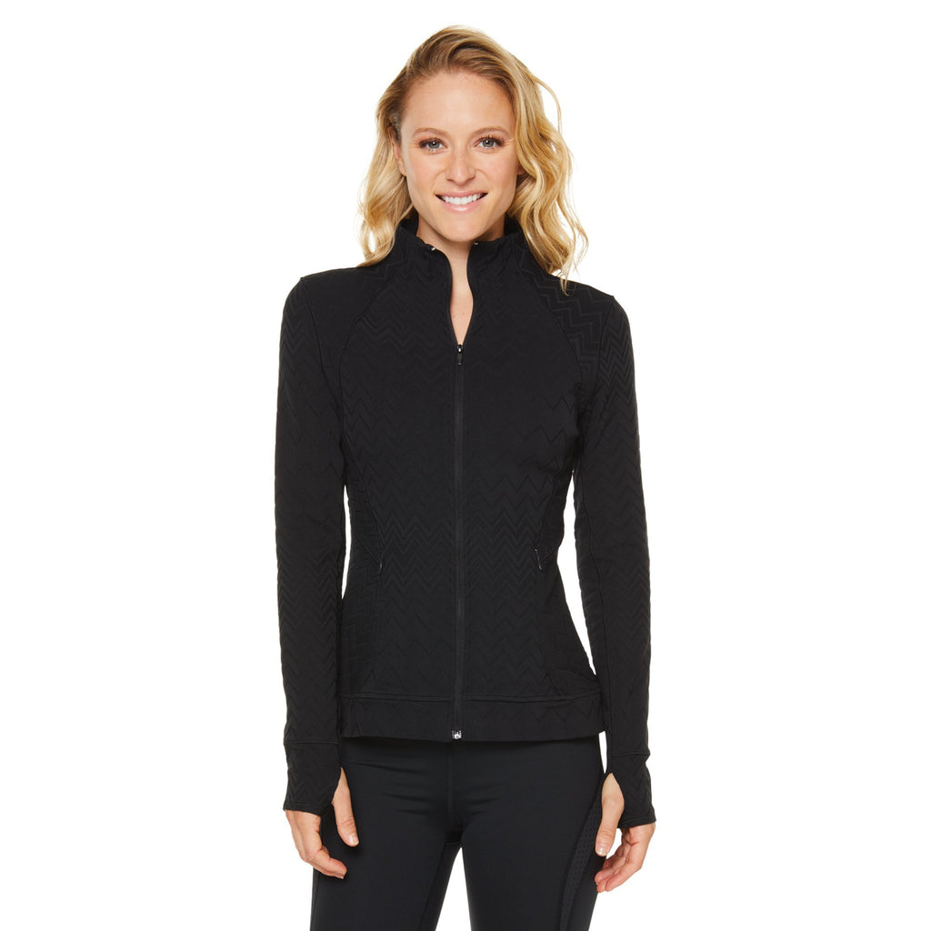 Shape Classic Zip Up Jacket - Textured Jacquard Black - SKULPT Dublin