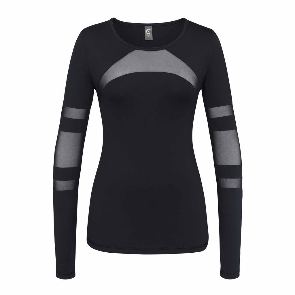 Shape Long Sleeved Top - Black with mesh front - SKULPT Dublin