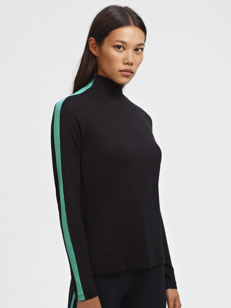 Splits59 Airweight Long Sleeve Rib Top - Black/Menthol - SKULPT Dublin