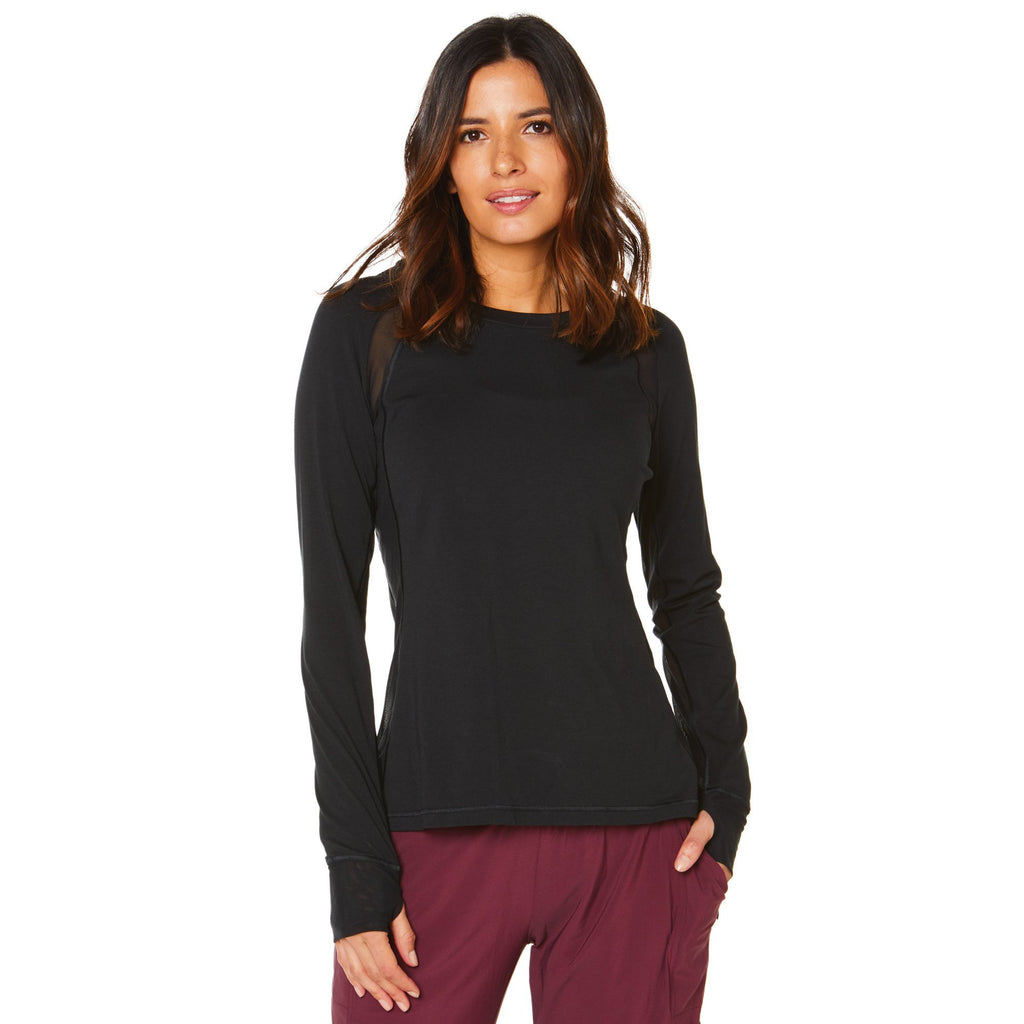 Shape Long Sleeve Top - Black with mesh sides - SKULPT Dublin