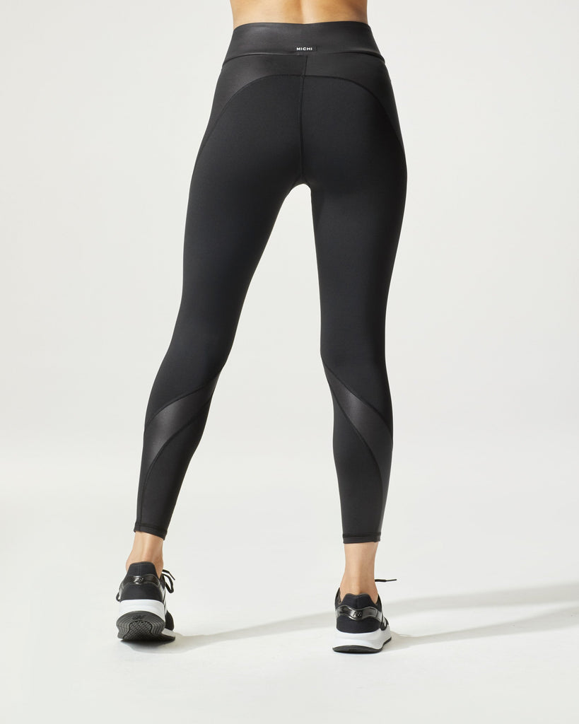 Michi Curved Shine Leggings - Black - SKULPT Dublin
