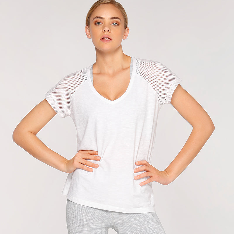 Lorna Jane Short Sleeved Open Back Tee - White - SKULPT Dublin