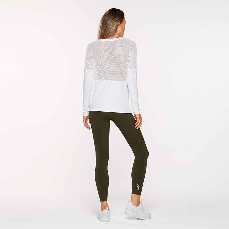Lorna Jane Long Sleeve Mesh Top - White - SKULPT Dublin
