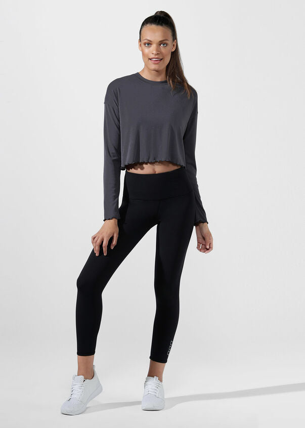 Lorna Jane Long Sleeve Crop Top - Titanium - SKULPT Dublin