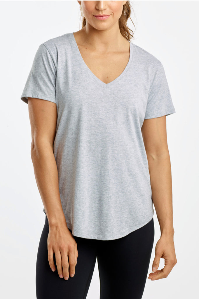 DYI Easy V Neck Short Sleeve Tee - Heather Grey - SKULPT Dublin