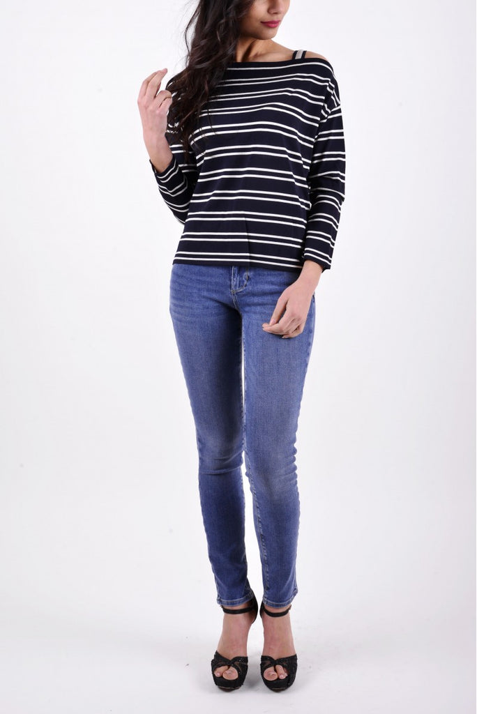Marella Long Sleeved Jumper - Navy & Cream - SKULPT Dublin