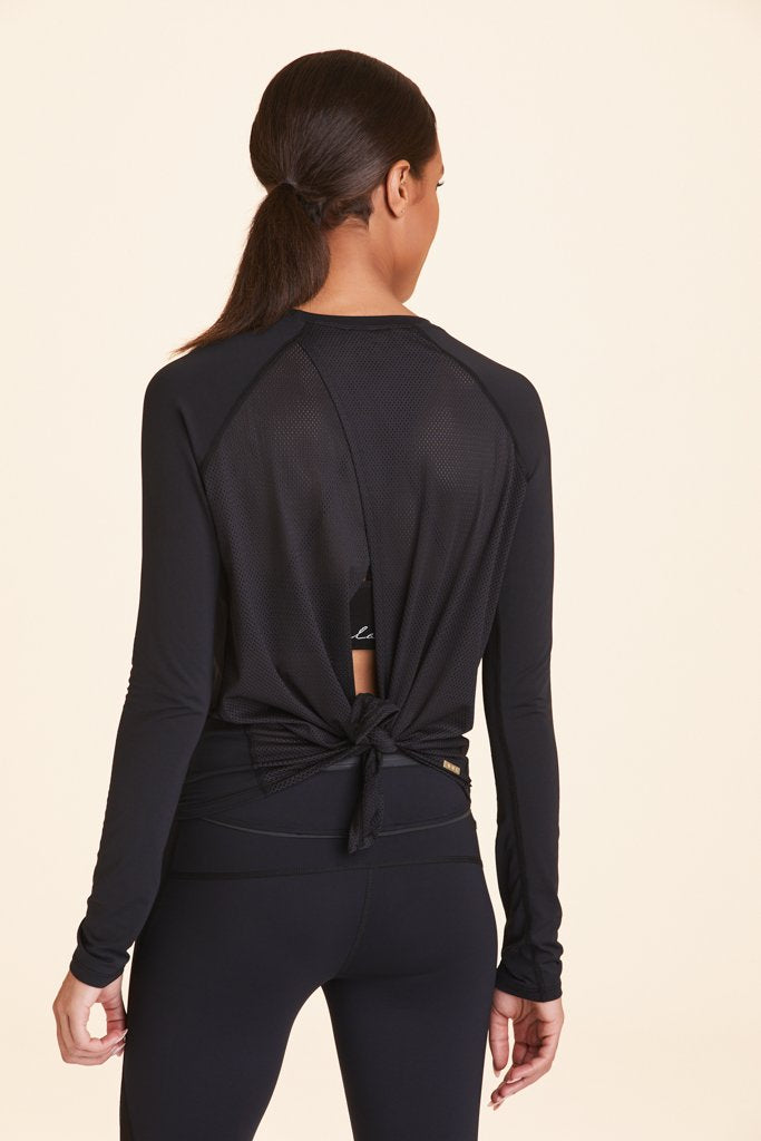 Alala Tie Back Long Sleeved Tee - Black - SKULPT Dublin