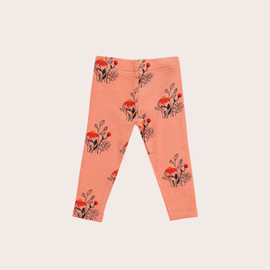 Wildflowers Rib Leggings- Peachy
