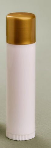 Ten .15 oz White Plastic Empty Lip Balm Dispensers Tubes With Push Up and Dark Gold Circle Cap