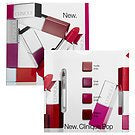 Clinique Pop Lip Colour Sample Card shades Nude Love Punch Cherry+Lip Brush