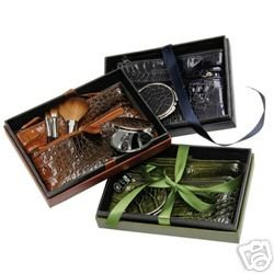 Make Up Brush and Cosmetic Bag 5 Pc. Beauty Gift Set Brown Croc Design