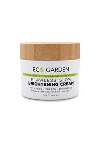 Eco Garden Flawless Glow Brightening Cream, Organic, rejuvenated, Anti aging, Reduce Darkspots, reduces dark pigmentation, Moisturizes and Makes Skin Brighter, Whiter Lighter, Reduces Dark Spots