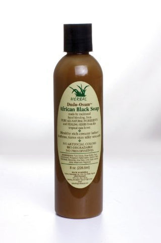 African Black Soap - Made in Ghana - 8 Oz Bottle, Liquid Dudu Osum Soap/Body Wash