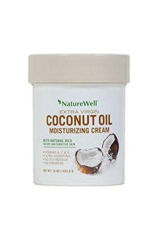 Naturewell Extra Virgin Coconut Oil Moisturizing Cream, 16 oz