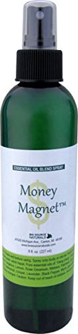 Money Magnet Essential Oil Blend Aromatherapy Spray with Gem Elixirs & Flower Essences --Reiki Charged Plus Quartz Crystal 8 Fl Oz / 227 Ml