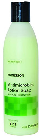 McKesson 53-28083-8 Antimicrobial Lotion Soap with Aloe and Herbal Scent, 8oz Bottle with Flip-Top Cap