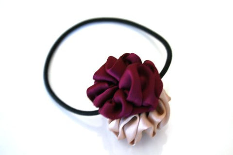 Two Flowers Satin Ponytail
