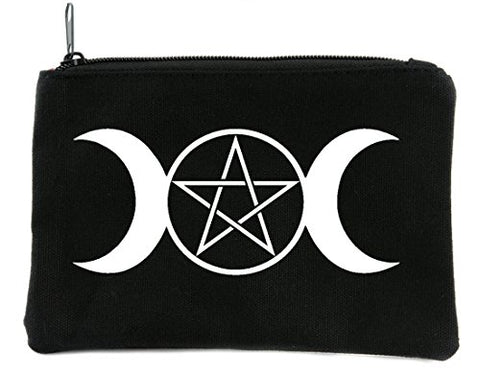 Triple Goddess Moon Wicca Pentagram Cosmetic Makeup Bag Alternative Accessories